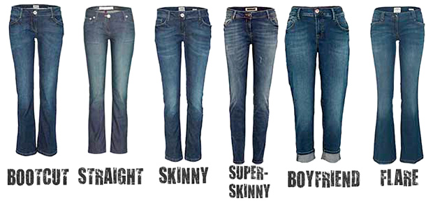 Jeans that have a regular cut can be worn by most body types: they are a little boxy and roomy, but still structured and fitted at the same time. Straight cut jeans To find out whether a pair of jeans is straight cut, you should fold the ankle area over the knee area.